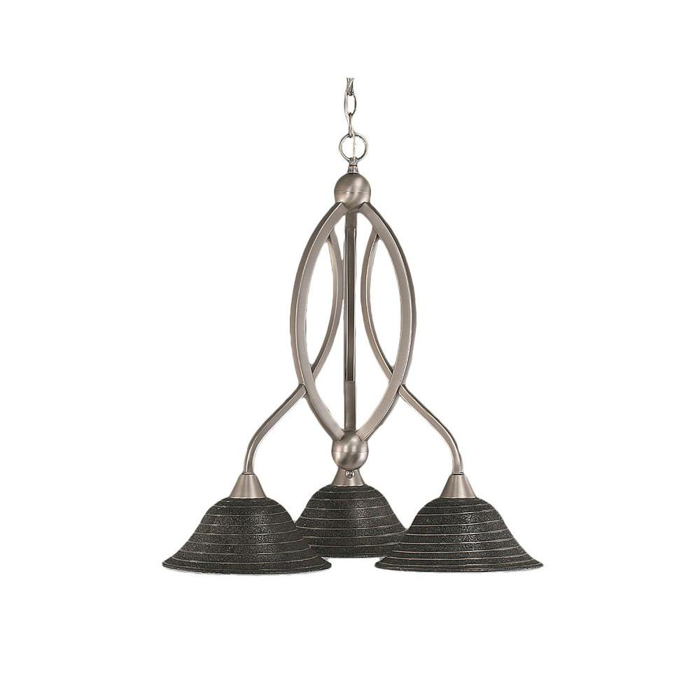 Filament Design Concord 3-Light Brushed Nickel Chandelier with Charcoal Spiral