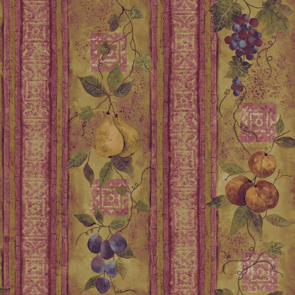 The Wallpaper Company 56 sq. ft. Earth Tone Fruit In An Oriental Style Wallpaper