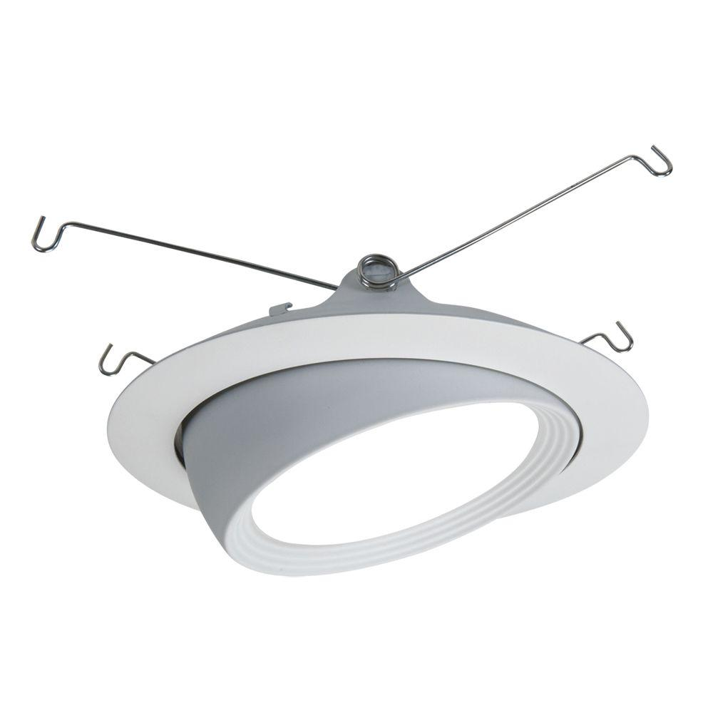 Halo 5 in. Matte White LED Recessed Lighting Eyeball Trim and Flange