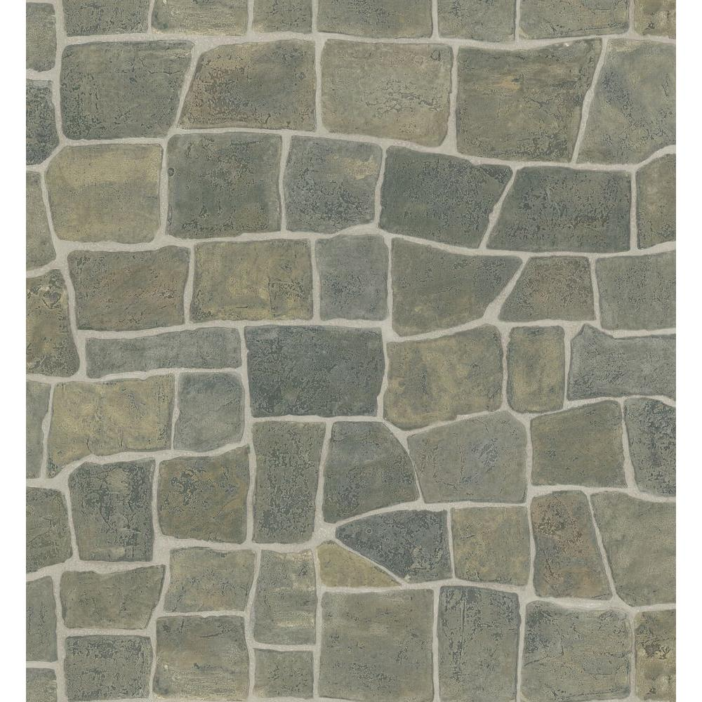 Northwoods Lodge Multi Color Stone Wall Wallpaper Sample