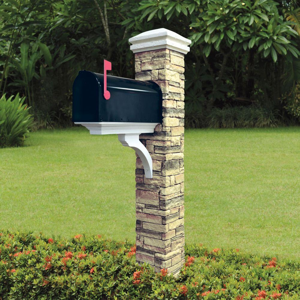 Stone Mailbox Post Eye level stacked stone beige brace and curved cap ...