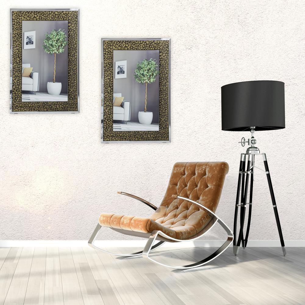 "24 in. x 28 in. Frameless Wall Mirror with Embossed ""Stones"" Design in"