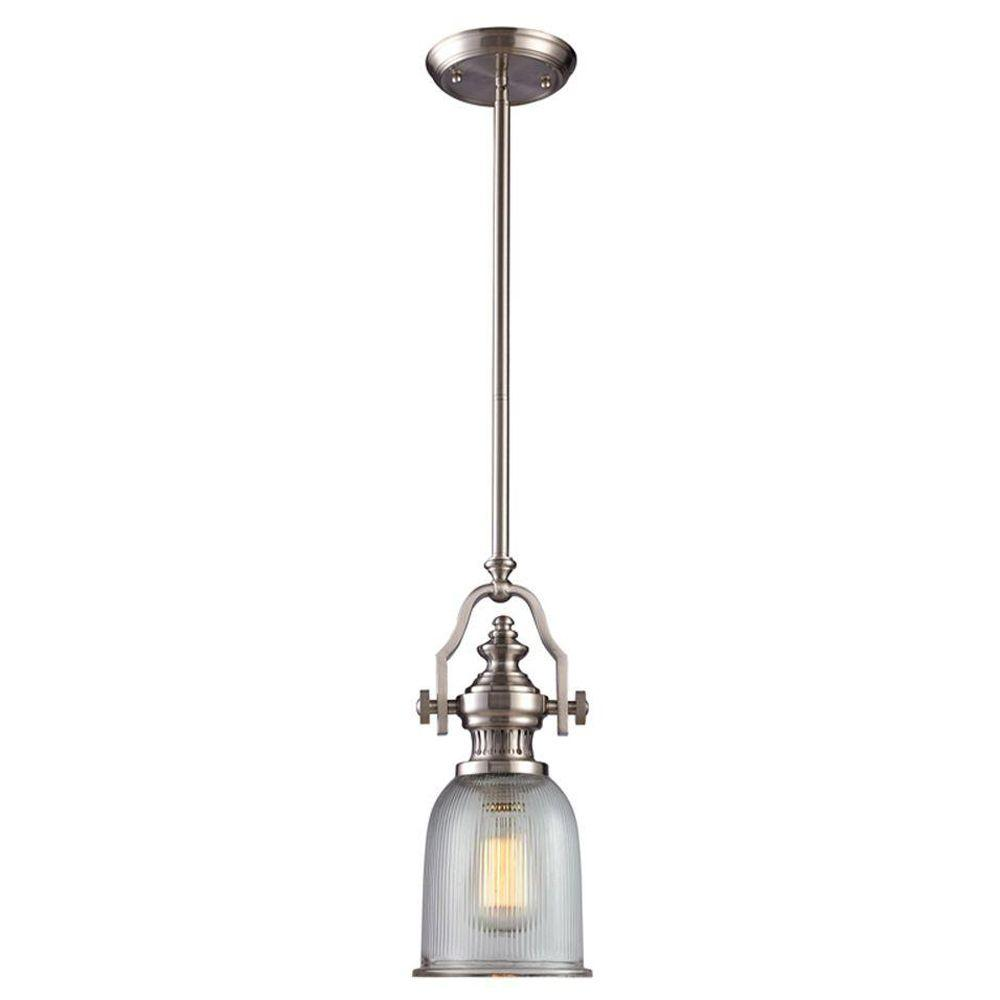 Titan Lighting Chadwick 1-Light Satin Nickel Ceiling Mount Pendant-TN-7785 - The