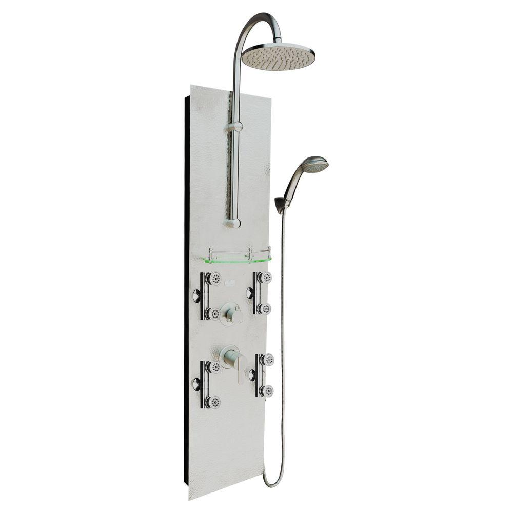 Vaquero 8-Jet Shower System with Hammer Nickel Panel in Brushed Nickel