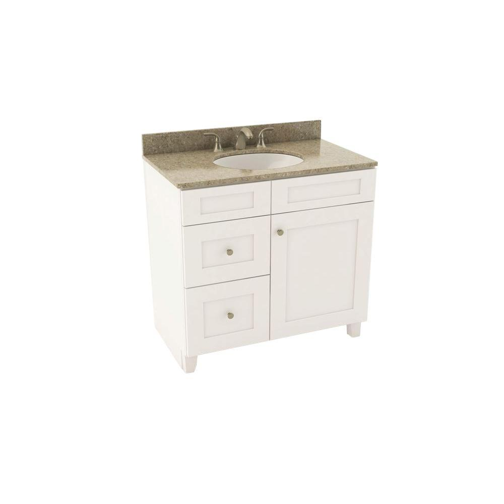 American Woodmark Reading 37 in. Vanity in Linen with Left Drawers and Silestone Quartz Vanity Top in Quasar and Oval White Sink