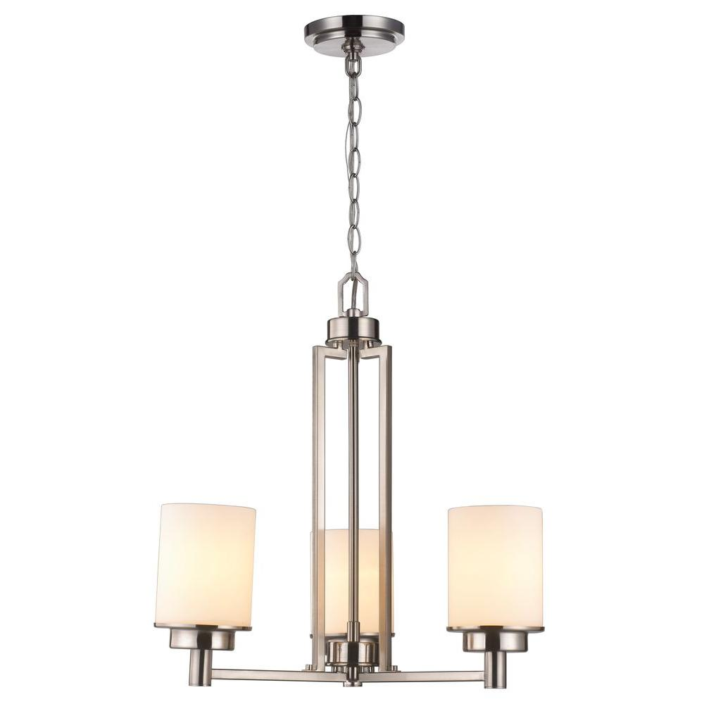 World Imports 3-Light Brushed Nickel Chandelier with White Frosted Glass
