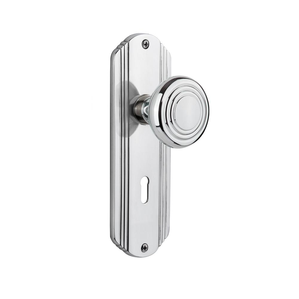 Deco Plate with Keyhole 2-3/4 in. Backset Bright Chrome Privacy Deco