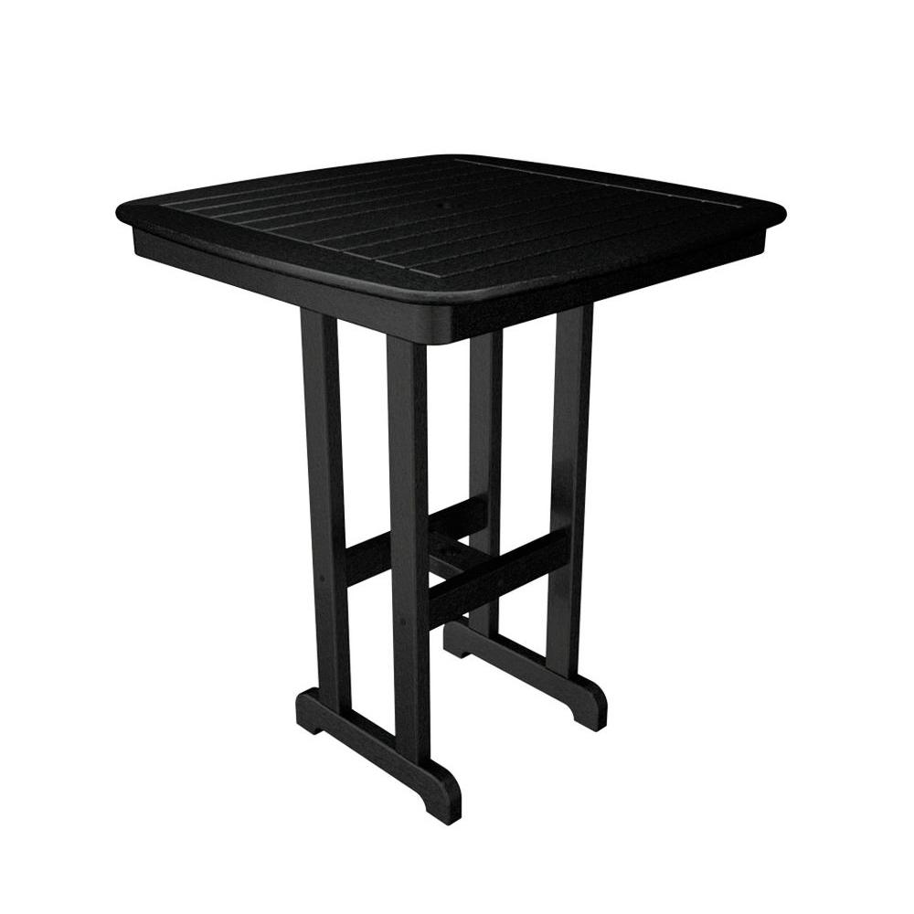 POLYWOOD Nautical Black 37 in. Patio Bar Table-NCBT37BL - The Home