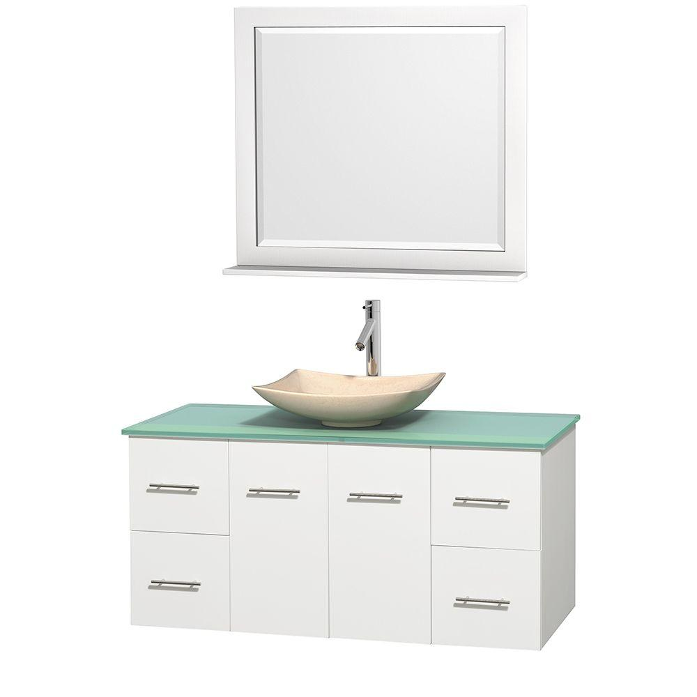 Wyndham Collection Centra 48 in. Vanity in White with Glass Vanity Top in Green, Ivory Marble Sink and 36 in. Mirror