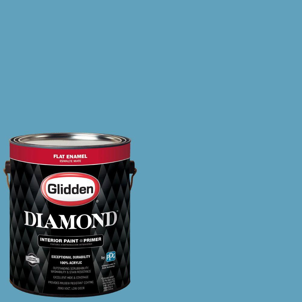 1 gal. #HDGB46D Hidden Harbor Blue Flat Interior Paint with Primer