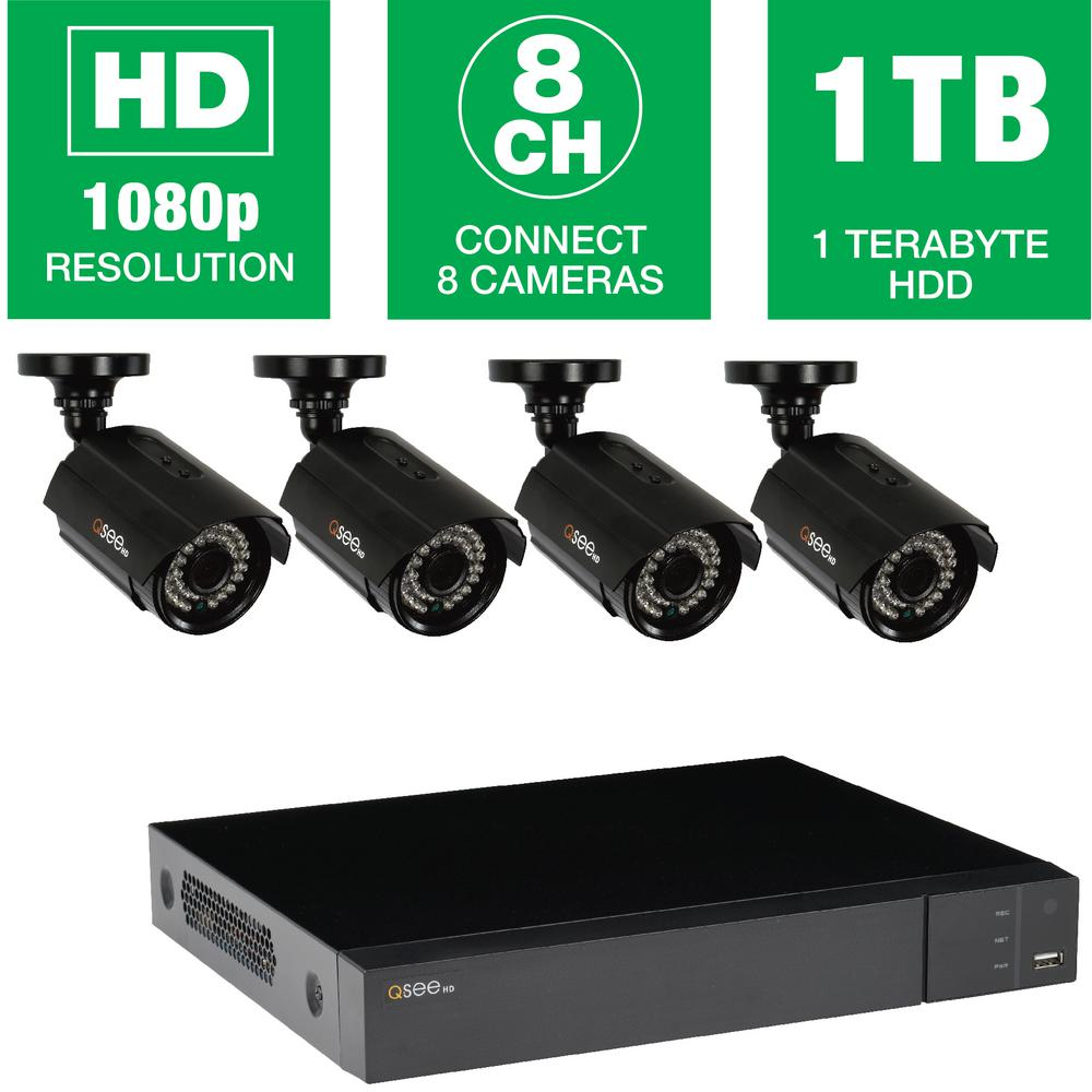 Q-SEE HeritageHD Series 8-Channel 1080p 1TB Video Surveillance System with 4 HD Bullet Cameras, 100 ft. Night Vision