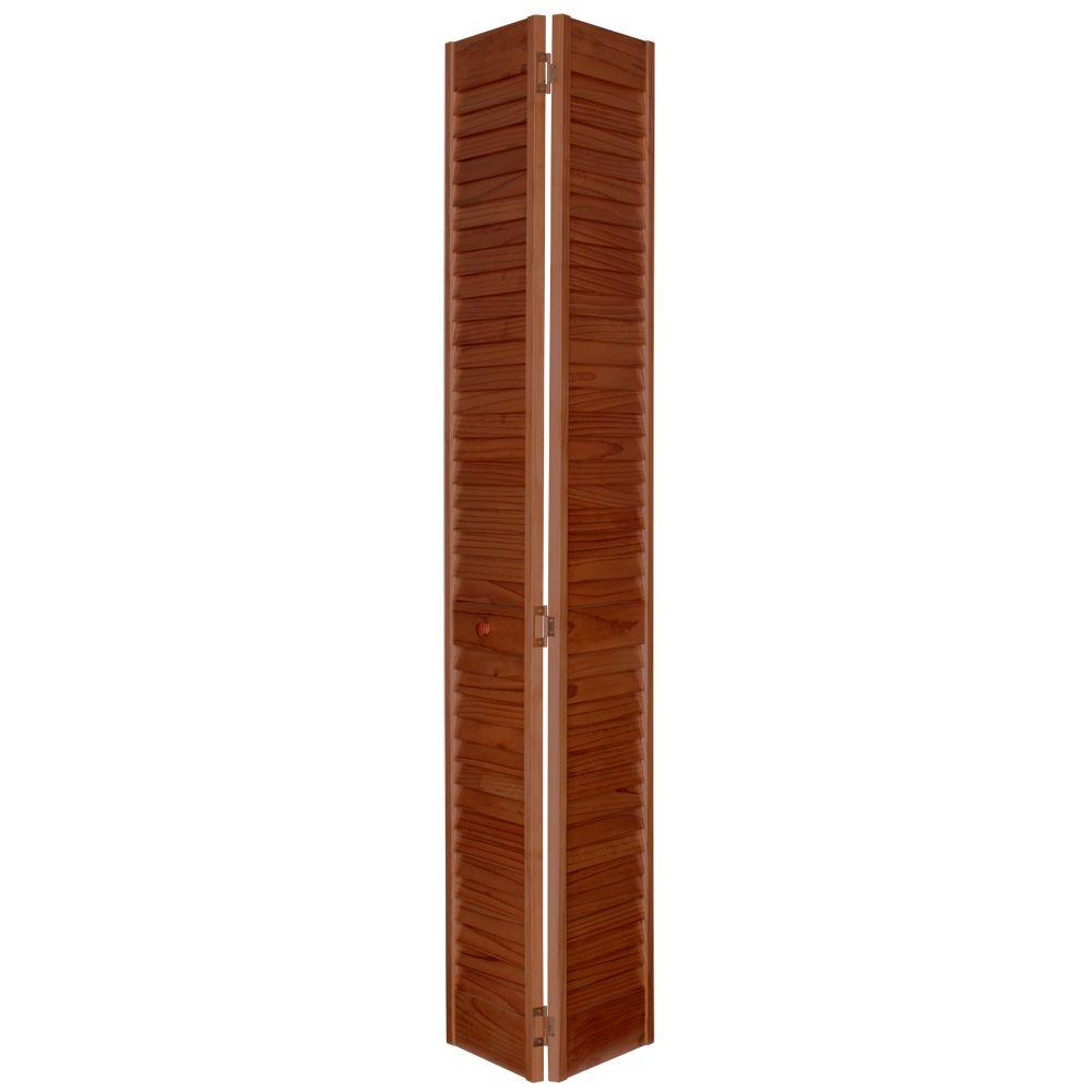 Home Fashion Technologies 2 in. Louver/Louver MinWax Red Oak Solid Wood Interior Bifold Closet Door-DISCONTINUED