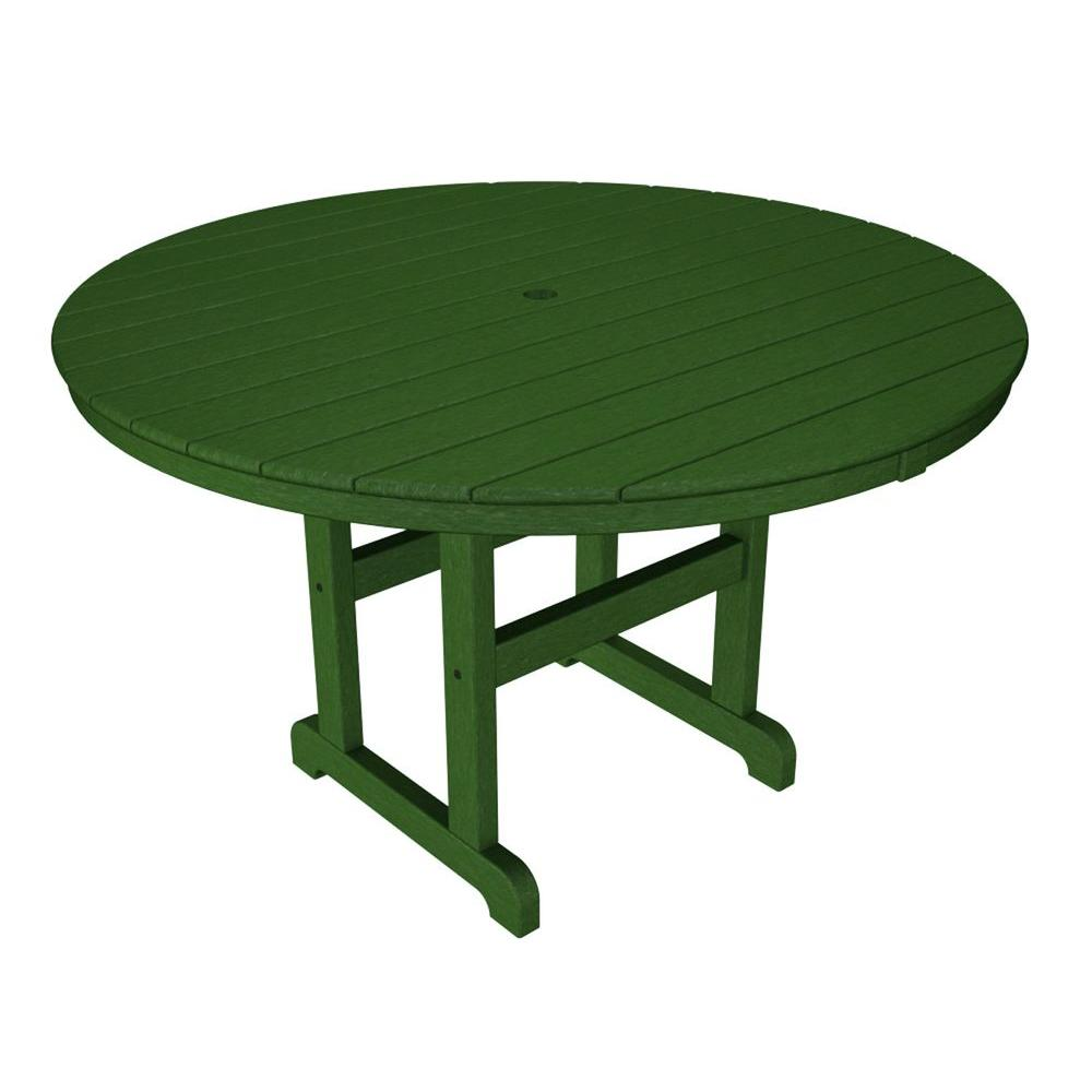 La Casa Cafe 48 in. Green Round Patio Dining Table