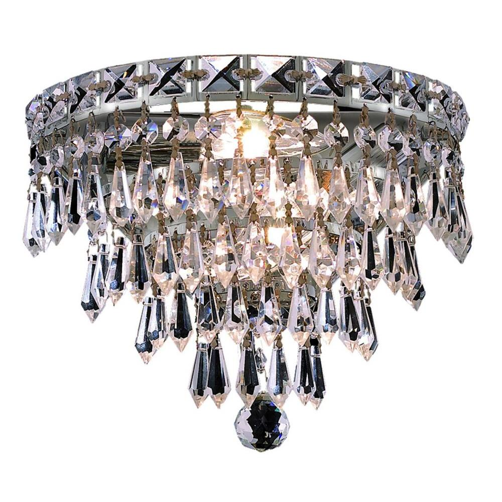 Elegant Lighting 3-Light Chrome Sconce with Clear Crystal