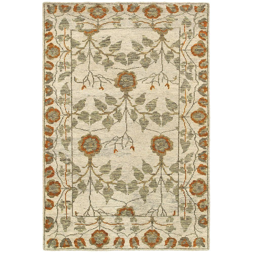 LR Resources Oushak Natural/Rust 5 ft. 6 in. x 8 ft. 6 in. Indoor Area Rug