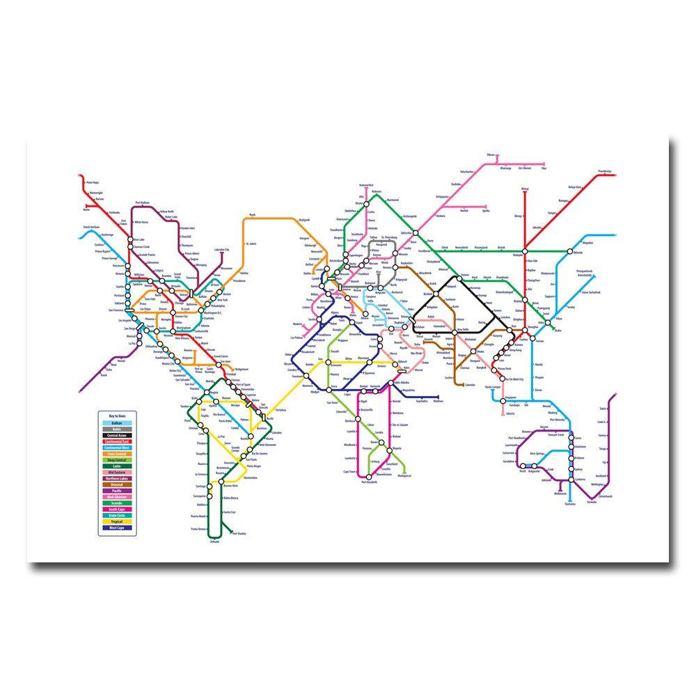18 in. x 24 in. World Map - Subway Canvas Art