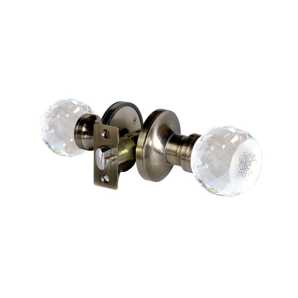 Love Rose Crystal Anitque Brass Privacy Door Knob with LED Mixing