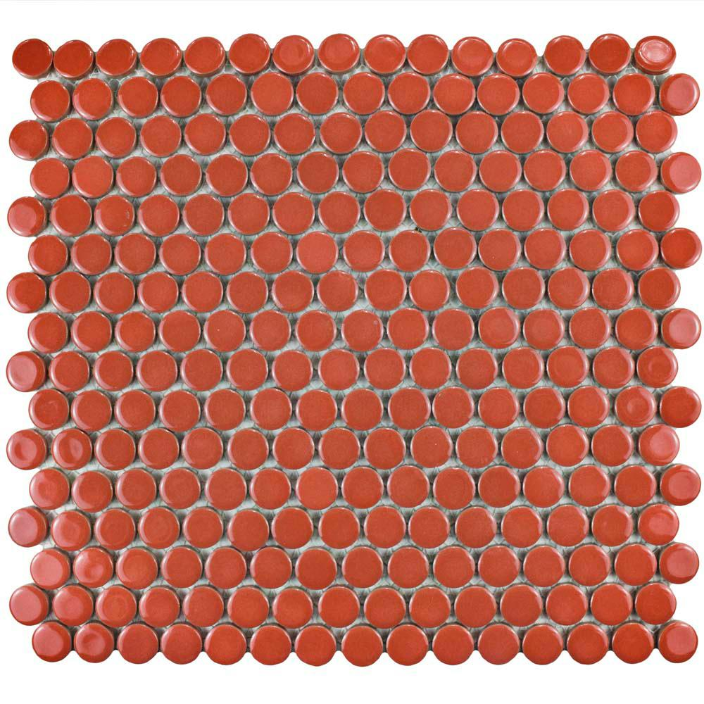 Merola Tile Hudson Penny Round Vermilio 12 in. x 12-5/8 in. x 5 mm Porcelain Mosaic Tile (10.2 sq. ft. / case)