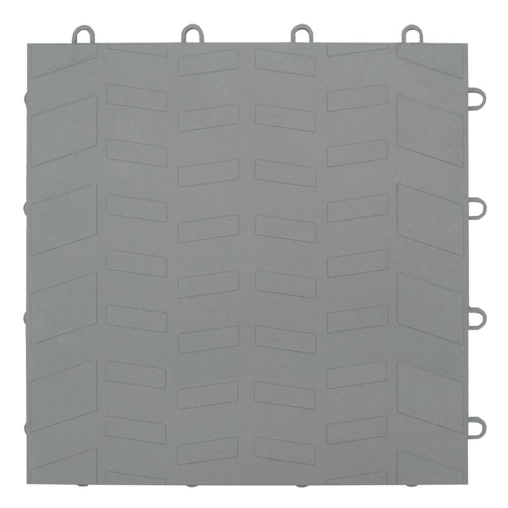 Tread Silver 12 in. x 12 in. Garage Tile - 40 Count Case