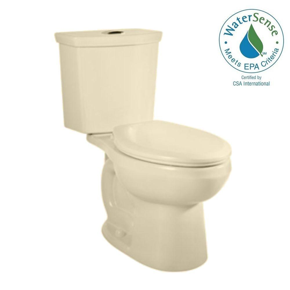 American Standard H2Option Siphonic 2-piece 1.28 GPF Dual Flush Elongated Toilet in Bone