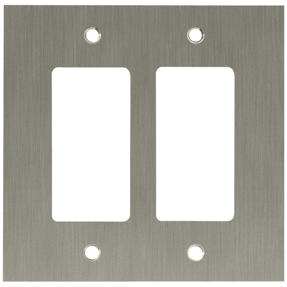 Concave Decorative Double Rocker Switch Plate, Satin Nickel