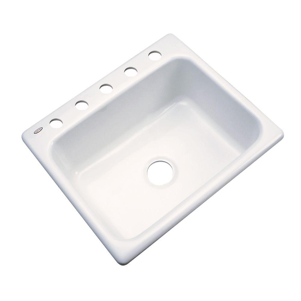 Inverness Drop-In Acrylic 25 in. 5-Hole Single Basin Kitchen Sink in
