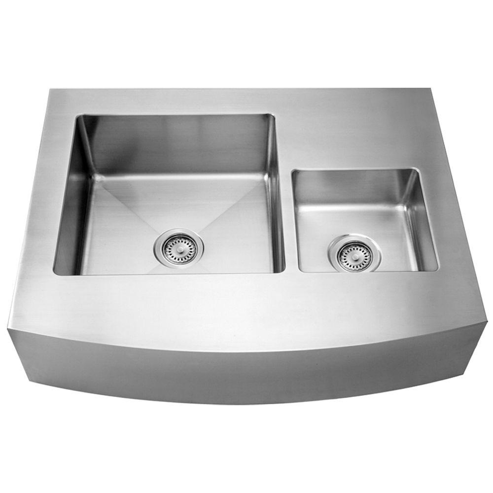 Whitehaus Collection Noah's Collection Front Apron Brushed Stainless Steel 36 in. 0-Hole Double Basin Kitchen Sink