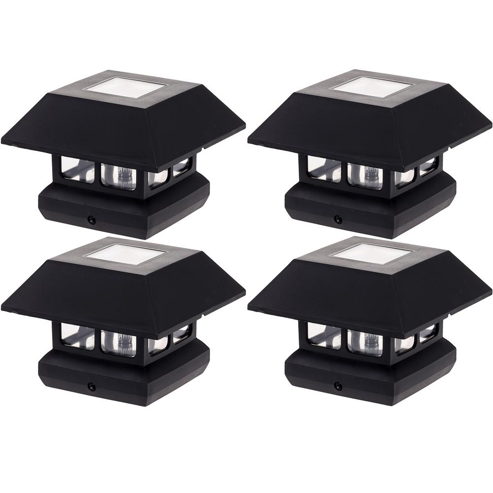 GreenLighting 4 in. x 4 in. Solar Powered Integrated LED Black