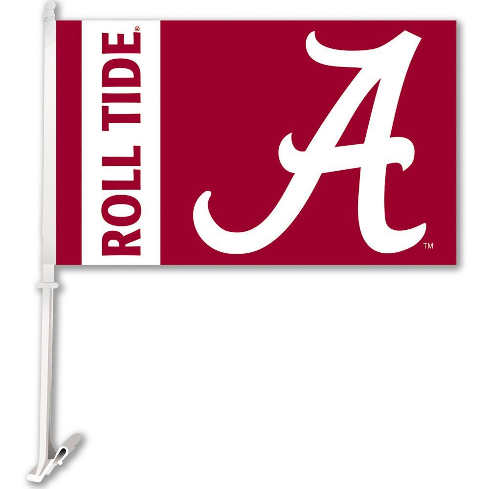 BSI Products NCAA 11 in. x 18 in. Alabama 2-Sided Car Flag with 1-1/2 ft. Plastic Flagpole (Set of 2)