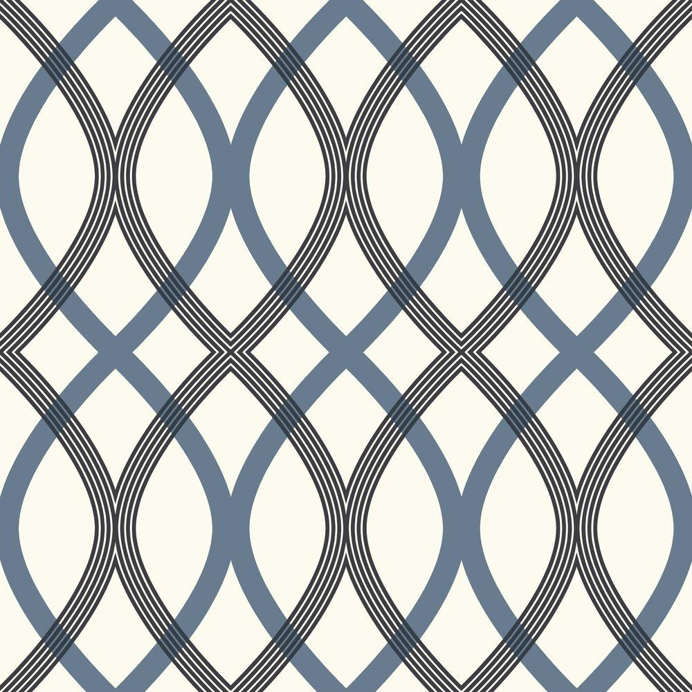 56 sq. ft. Contour Blue Geometric Lattice Wallpaper