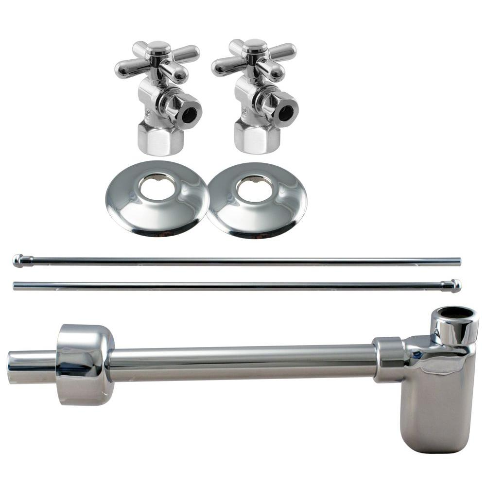 Westbrass 1/2 in. IPS Cross Handle Angle Stop Complete Pedestal Sink Installation Kit in Polished Chrome