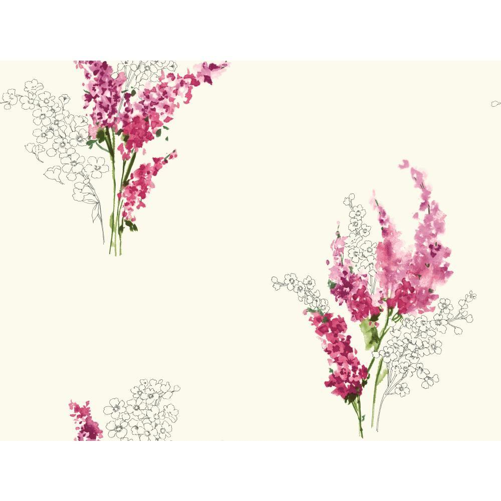 60.75 sq. ft. Watercolors Delphinium Wallpaper, White/Pink/Pink/Yellow/Green/Grey