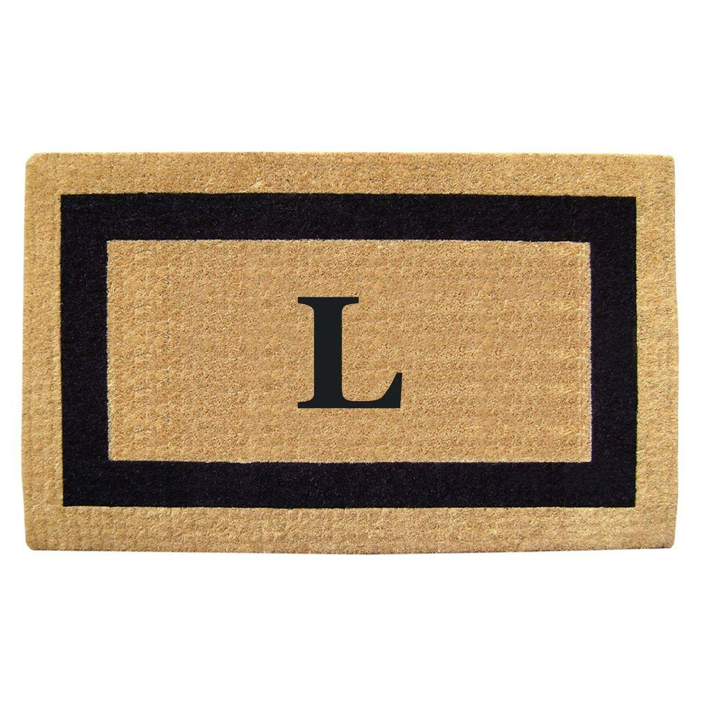 Nedia Home Single Picture Frame Black 22 in. x 36 in. HeavyDuty Coir Monogrammed L Door Mat