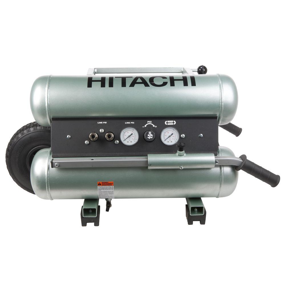 Hitachi 5 gal. 145 psi Wheel Barrow Air Compressor with 8 oz. Synthetic Oil and Dipstick
