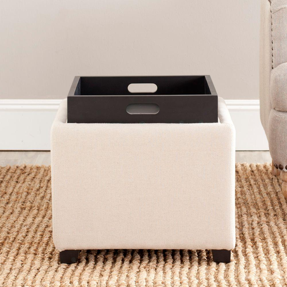 Safavieh Harrison Taupe Birchwood Linen Single Tray Ottoman-HUD8233L - The Home