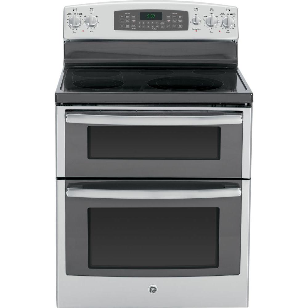 GE Profile 6.6 cu. ft. Double Oven Electric Range with Self-Cleaning Convection (Lower Oven) in Stainless Steel