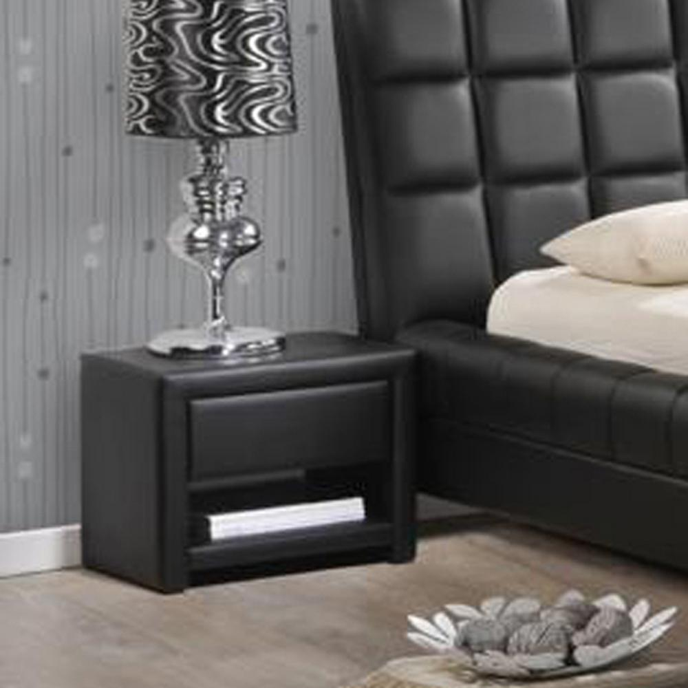 massey 1drawer glam black faux leather nightstand