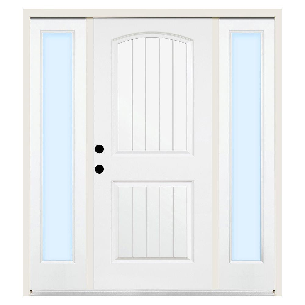 Steves & Sons 68 in. x 80 in. 2-Panel Plank Right-Hand Primed Steel Prehung Front Door w/ 14 in. Clear Glass Sidelite and 4 in. Wall