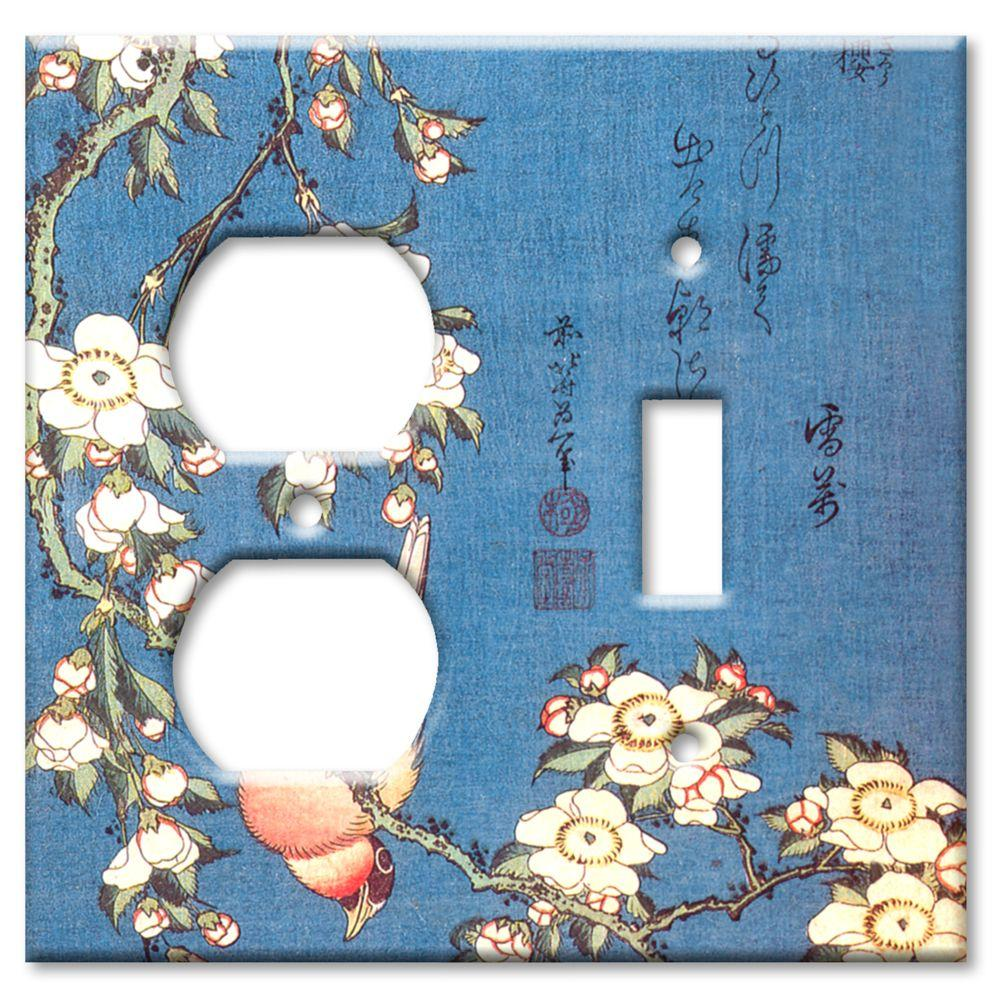 Art Plates Hokusai Weeping Cherry and Bullfinch Outlet/Switch Combo Wall Plate