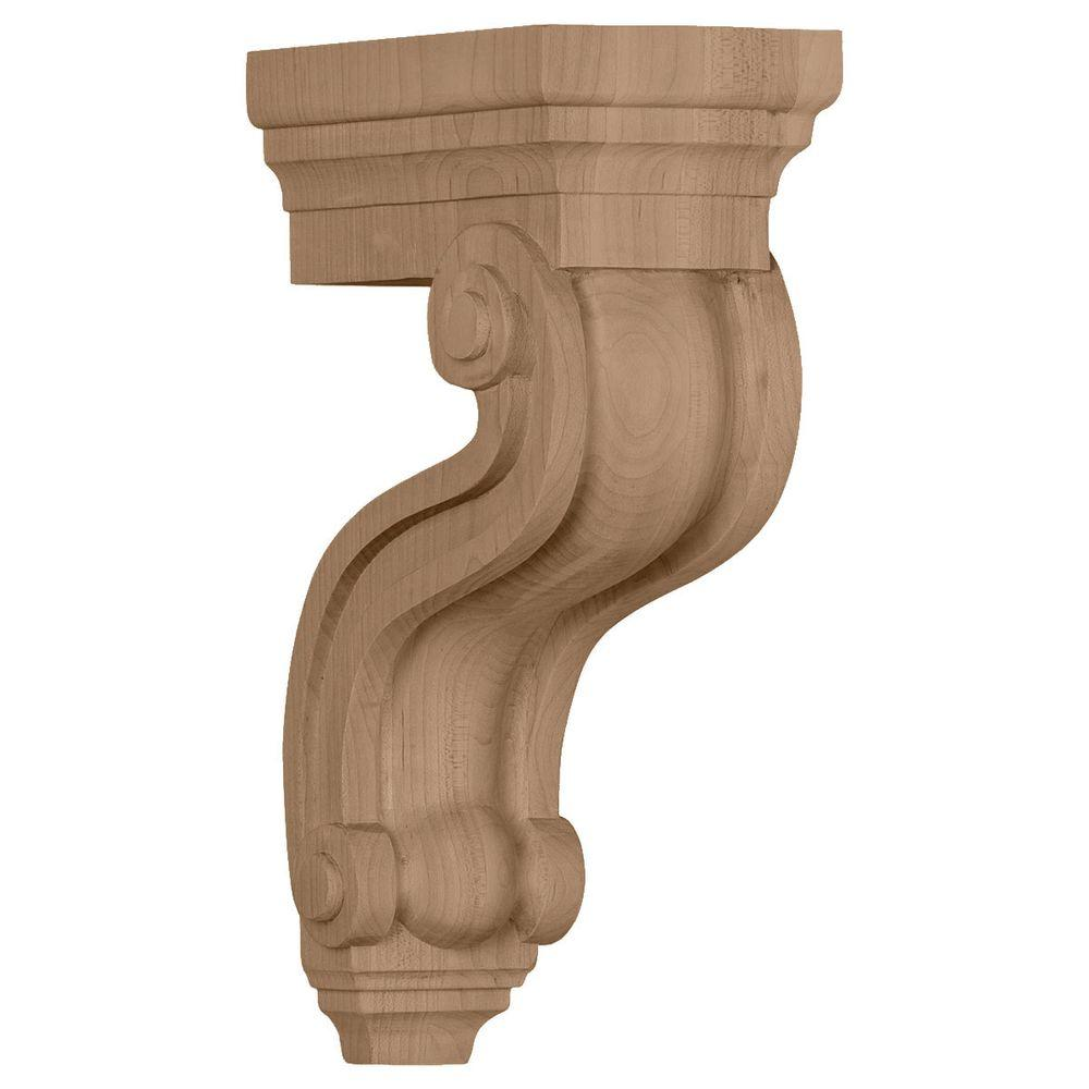 Ekena Millwork 3-3/8 in. x 6-1/2 in. x 10-1/2 in. Unfinished Mahogany Los Angeles Hollow Back Corbel