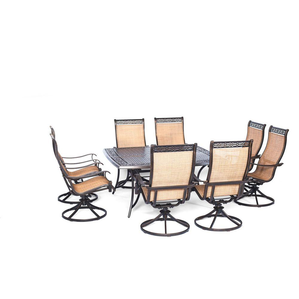 Manor 9 Piece Square Patio Dining Set With Eight Swivel Rockers