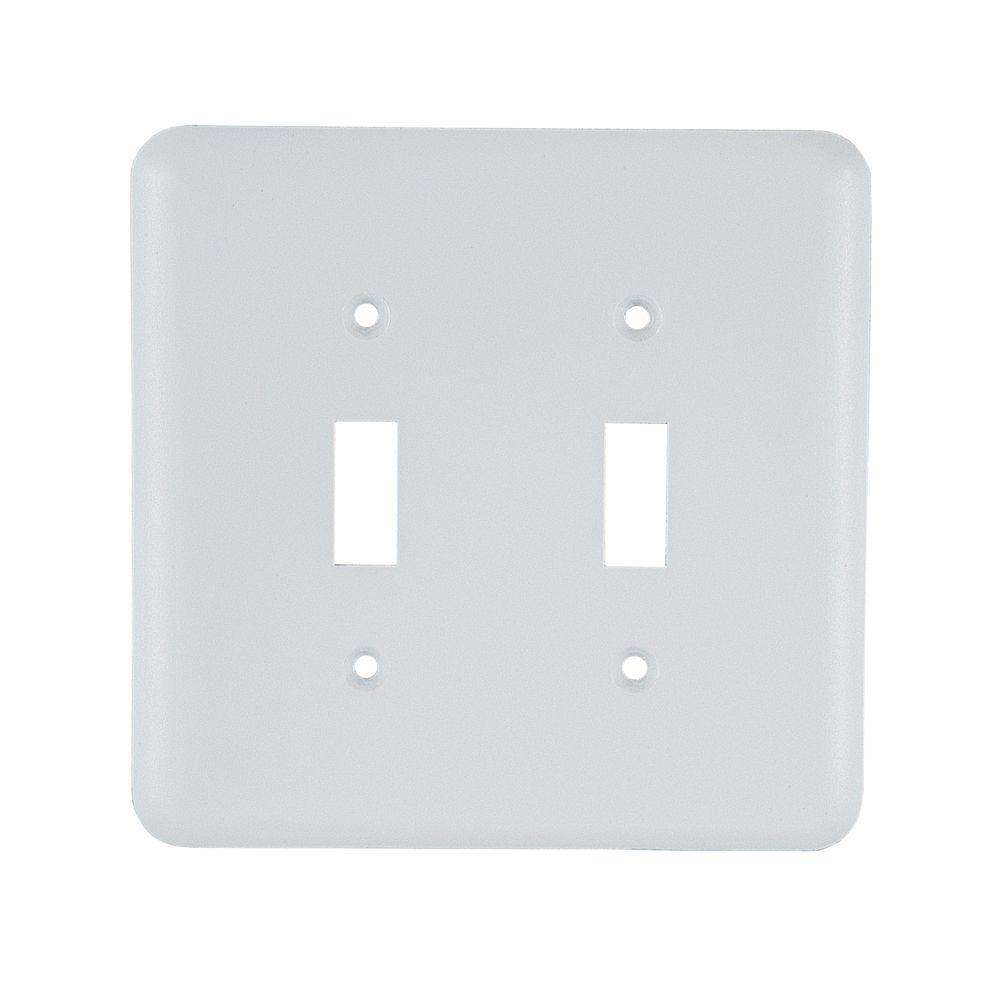 2 Toggle Steel Switch Wall Plate - White