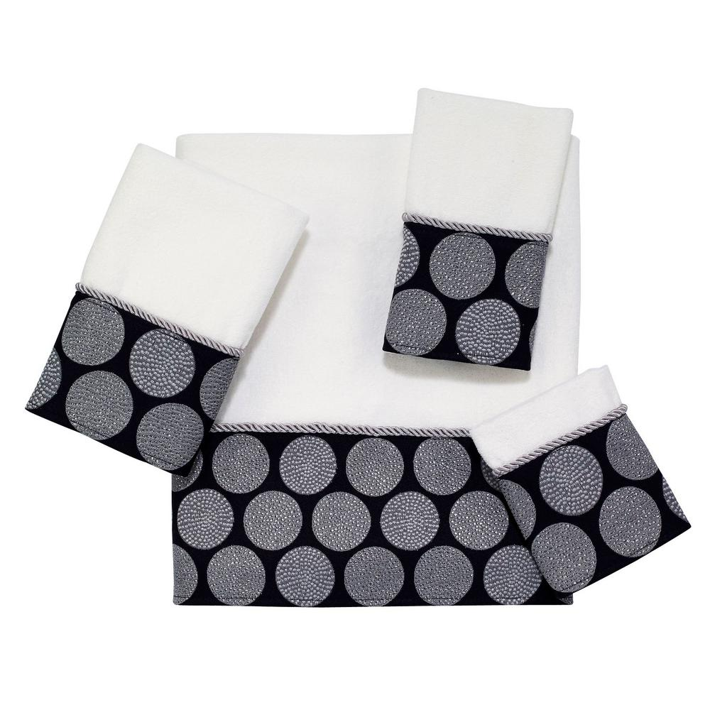 """Dotted Circles 4-Piece Bath Towel Set in White Black """