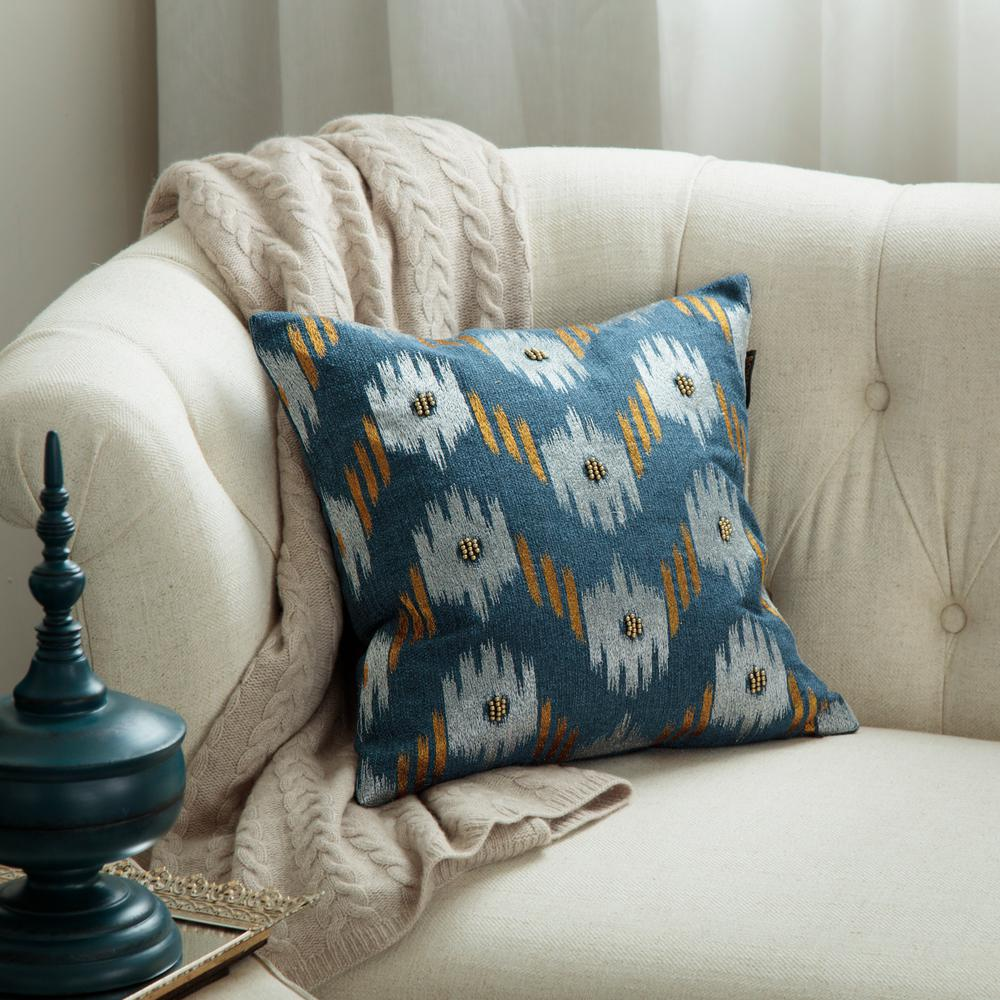 Ikat Chevron 18 in. Square Toss Pillow