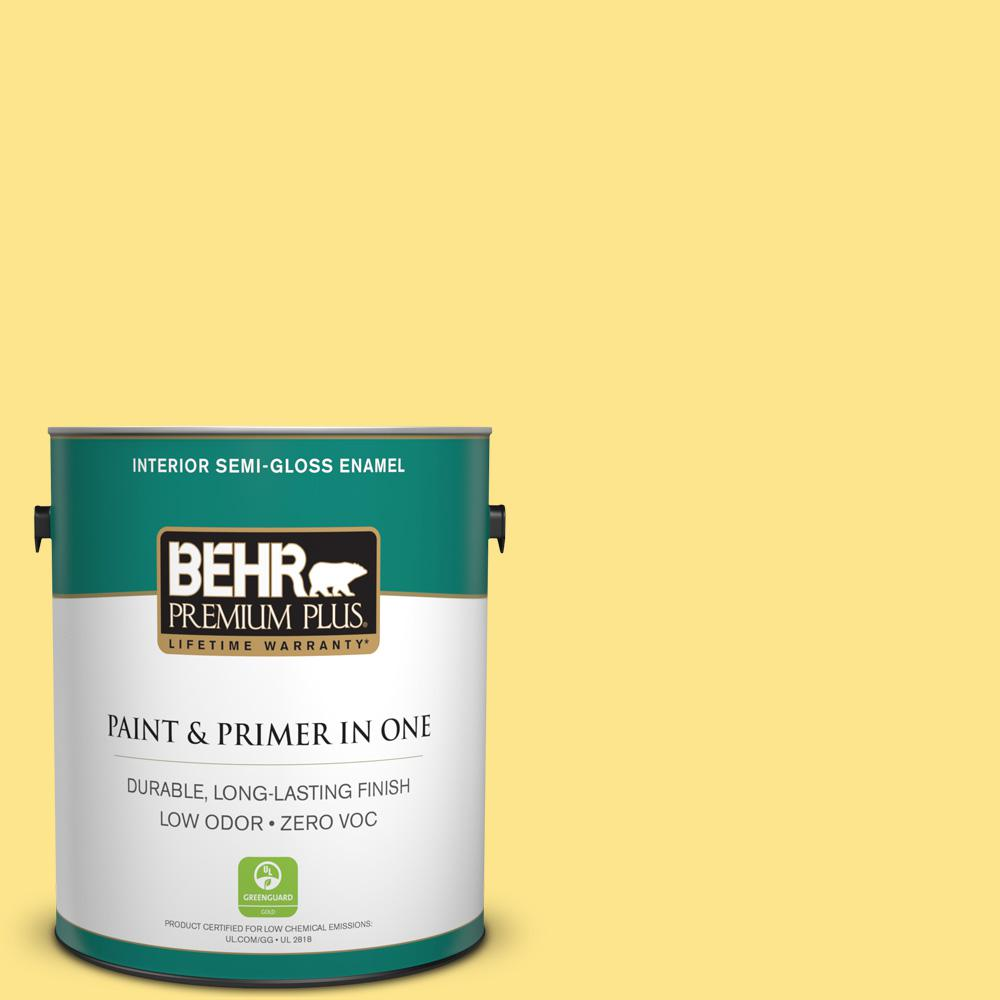 1-gal. #370A-3 Bicycle Yellow Zero VOC Semi-Gloss Enamel Interior Paint