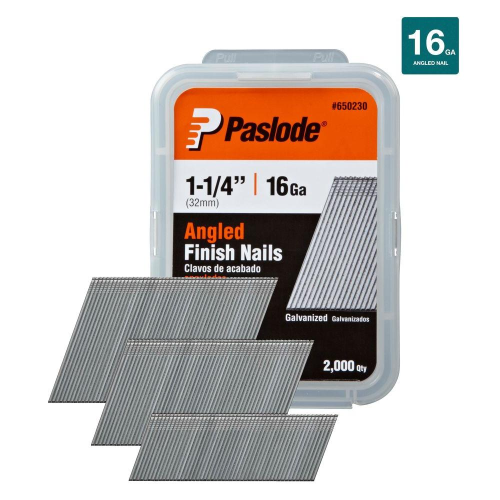 1-1/4 in. x 16-Gauge Galvanized Angled Finish Nails 2000 per Box