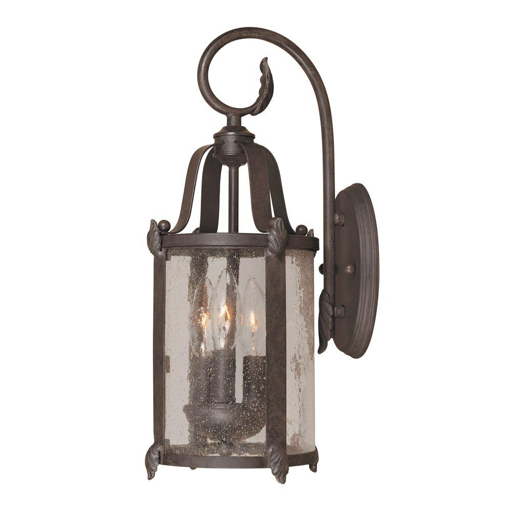 Old Sturbridge Collection 3-Light Bronze Outdoor Wall Lantern