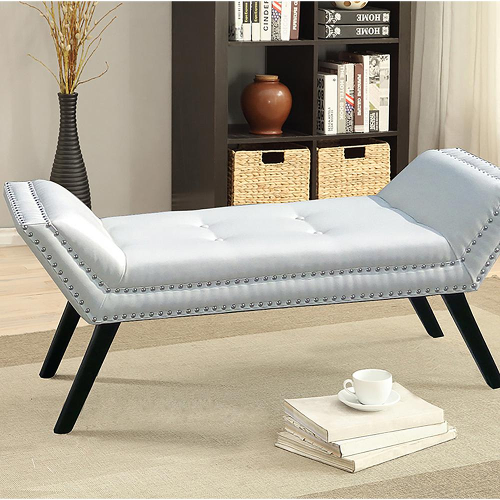 Tamblin Contemporary White Faux Leather Upholstered Bench