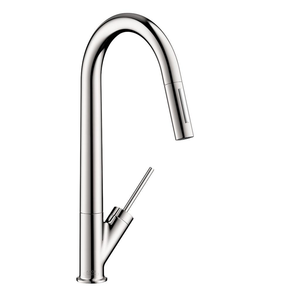 Hansgrohe Axor Starck Single-Handle Pull-Down Sprayer Kitchen Faucet in Chrome