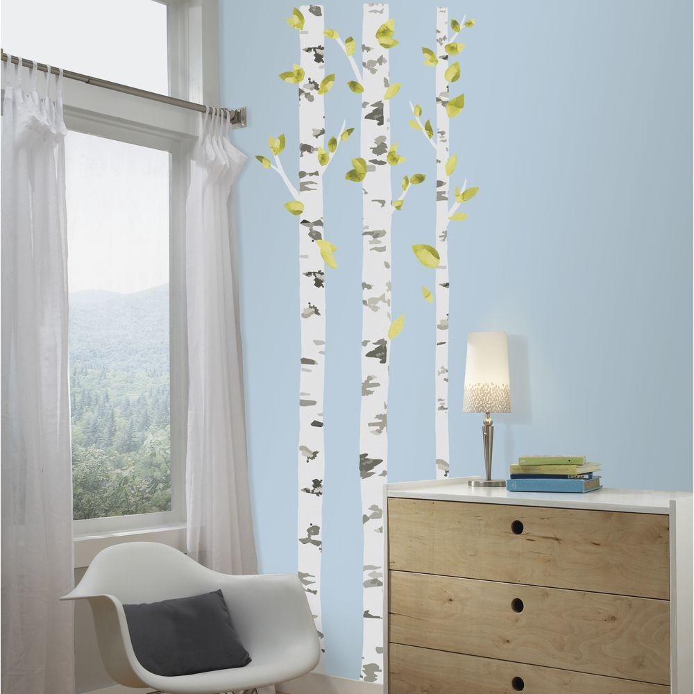 Roommates 5 in x 19 in birch trees peel and stick giant for Birch tree wall mural